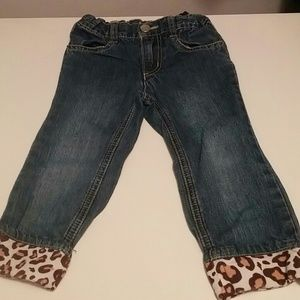 Jeans with leopard cuffs